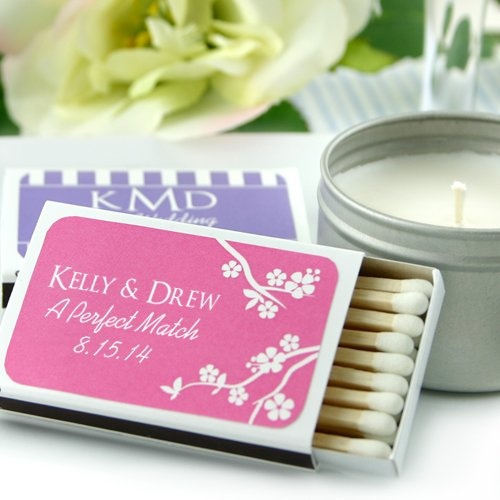 The traditional matchbook with a non-traditional look makes this keepsake more modern.