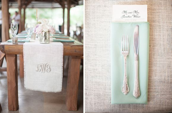 Table runners with the couple's monogram is simple and sweet.