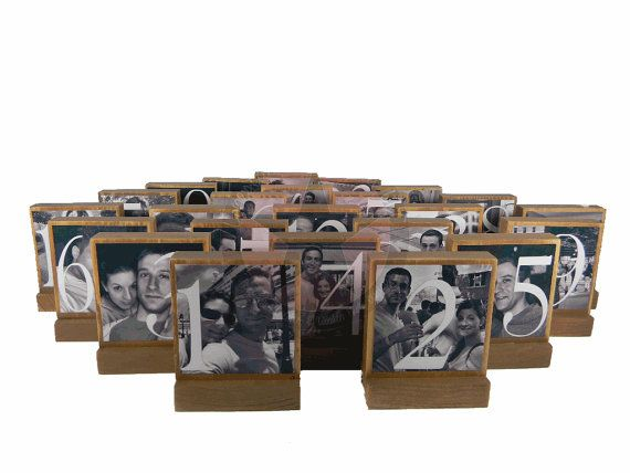 Table numbers with personalized photos.