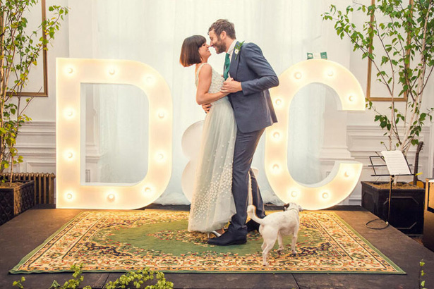 When Dawn O'Porter and Chris Dowd married in 2012, they put their names in lights. DIYers could pull this off in a weekend.