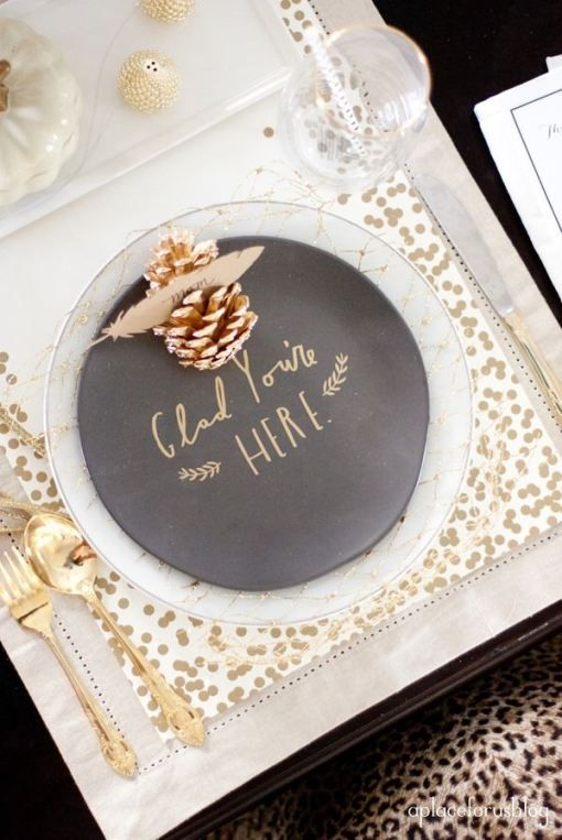 Gold accents paired with chalkboard paint keep this look from being too frilly.