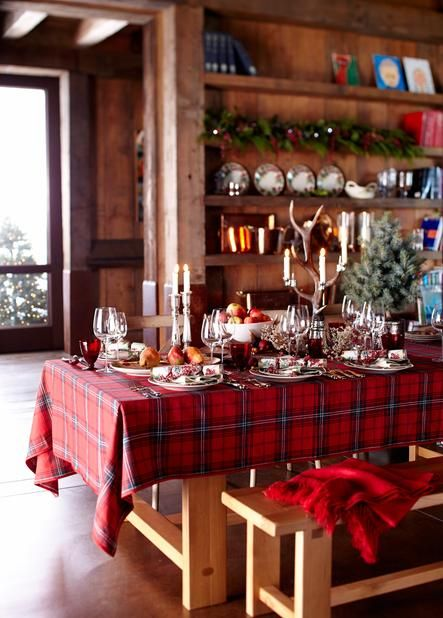 This plaid screams cozy holiday. A tartan throw used for nights by the fire turns a table into something special.