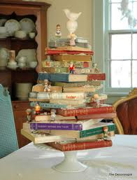 Holiday books get an elevated status when built into a funky Christmas tree.