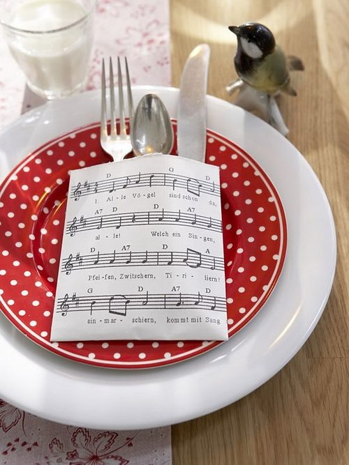Old song sheets makes forks more festive!